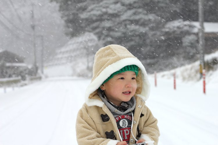 雪の中 うきは 吹雪